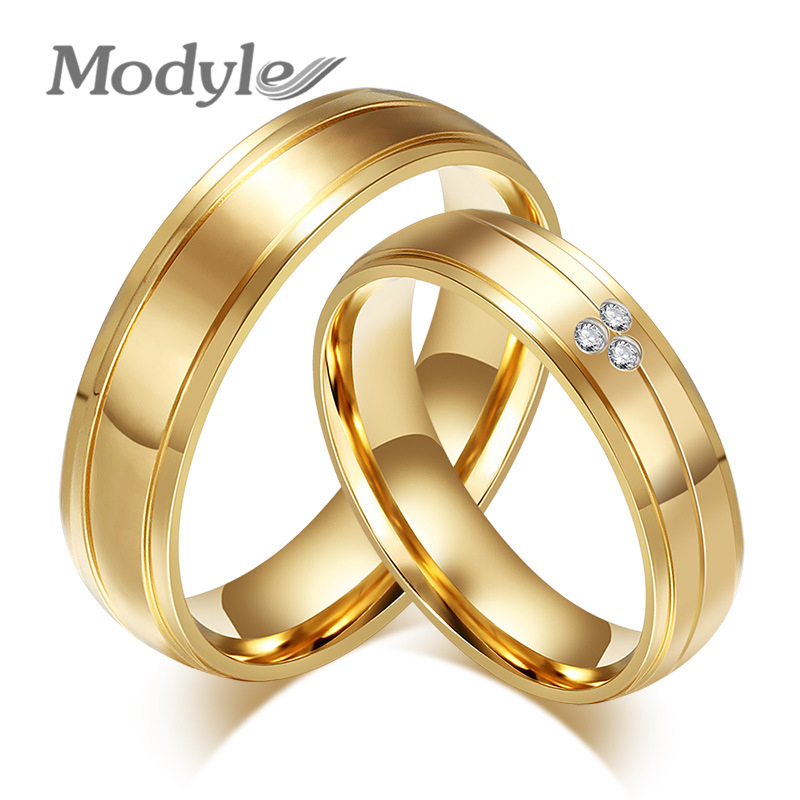 Modyle 2017 New Fashion Gold-Color couple rings CZ stainless steel engagement ring for women men
