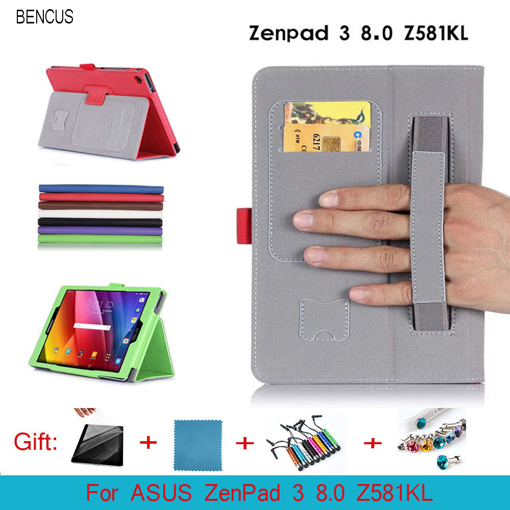 BENCUS For ASUS ZenPad 3 8.0 Z581KL Case High Quality PU Leather Stand Case Cover With Hand Strap Card Slot