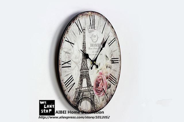 35CM Paris Eiffel Tower British Style Wood Wall Clocks Coffee Shop Restaurant and Bar Circular Digital Needle Clock Home Decor