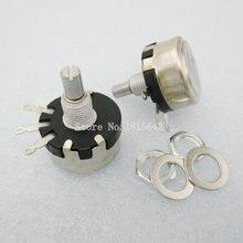 2PCS/LOT WX110(010) 6.8K 6K8 Ohm 3 Soldering Terminals 6mm Round Metal Shaft Single Turn Wire Wound Potentiometer