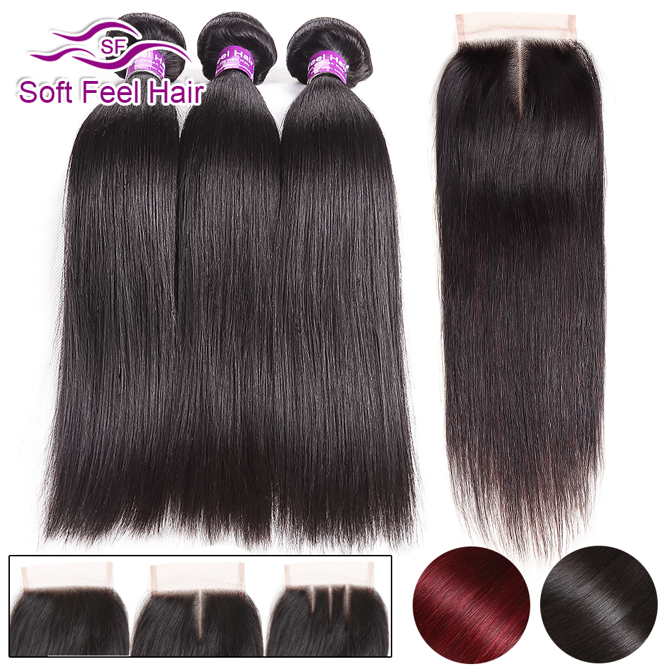 Soft Feel Hair Brazilian Straight Hair Bundles With Closure Burgundy Ombre Human Hair Bundles With Closure