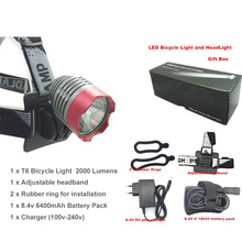 Gift box & Bicycle Light HeadLight headlamp BicycleLight Front Light bike 2000lm XM-L T6+8.4v 18650 Battery Pack+EU/US Charger