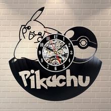 Покемон настенные часы современный дизайн декоративный детская комната с принтом Пикачу Винтаж винил часы-пластинка стены домашние декоративные часы