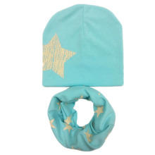 Новинка, хлопковый весенний теплый детский шарф со звездами+ шапка, комплекты, шапки для девочек и воротники для мальчиков, детские шапки размера плюс для детей старше 4 лет