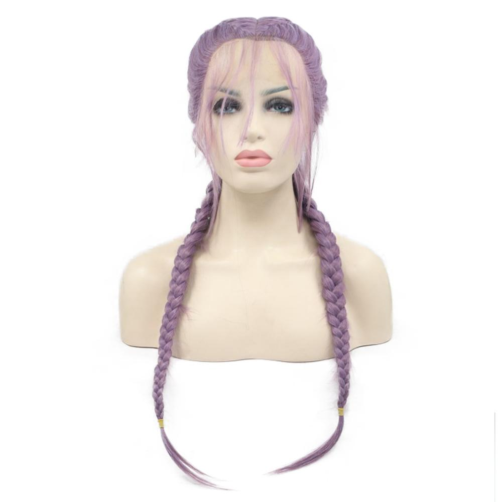 Длинные Две косы фиолетовый Синтетический Плетеный парик с волосами младенца синтетический парик фронта шнурка Ever beauty волосы
