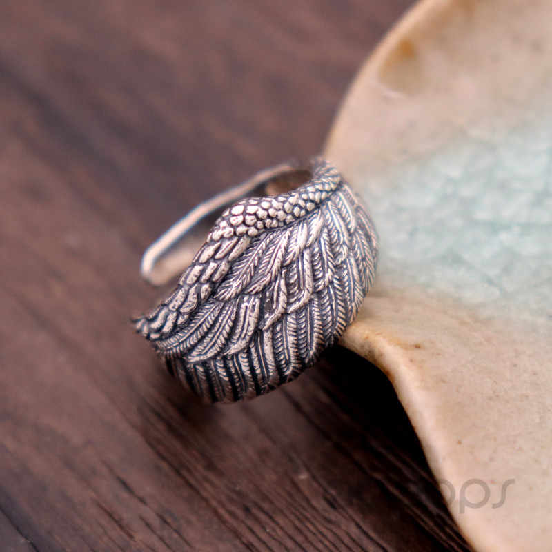 Vintage Sterling Silver Angel Wing Ring Size 7