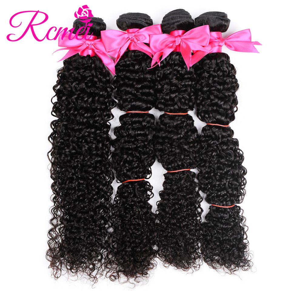Rcmei Indian Kinky Curly Non Remy Human Hair Weft 4 Bundles/Lot Natural Color Raw Indian Human Hair 8-28 Inch Born For Beauty