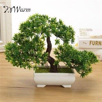 KiWarm Green 180mm Artificial Planter Plastic Bonsai Tree in Square Pot Home Garden Office Plant Decoration Ornament