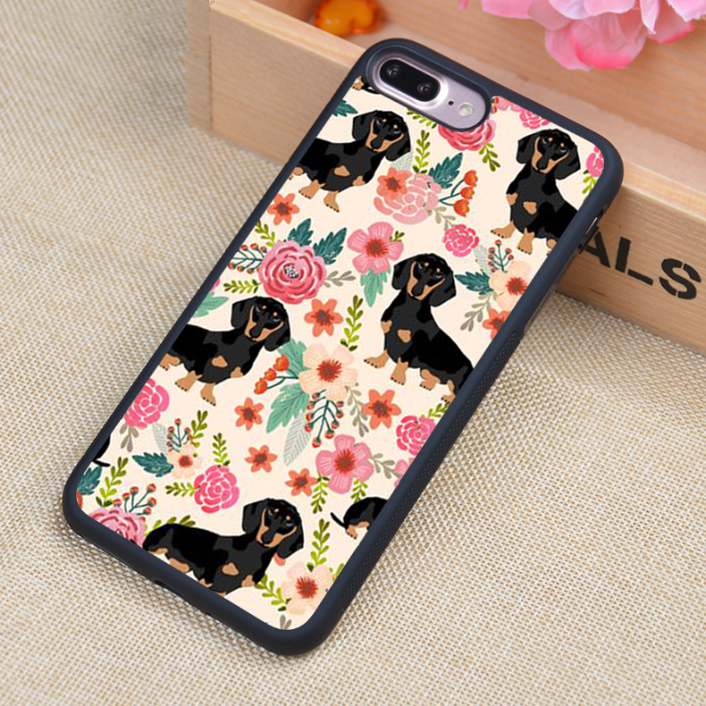 Funny Dachshund Flower Pattern Style Soft Rubber Back Case Cover For iPhone 6 6S Plus 7 7 Plus 5 5S 5C SE 4 4S Mobile phone bag