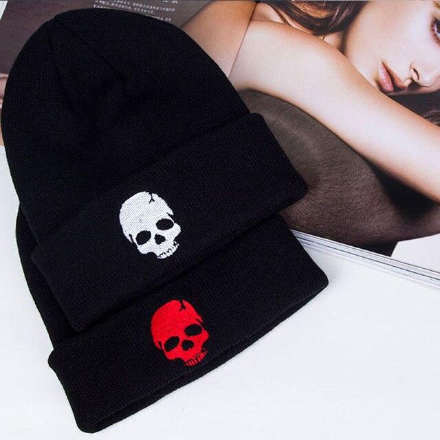 שחור כובע כובעי גברים נשים סרוגות בבאגי כפת פאנק סרוג אביב חורף כובע גולגולת כובע עבור Auntumn גמיש ורך ללבוש