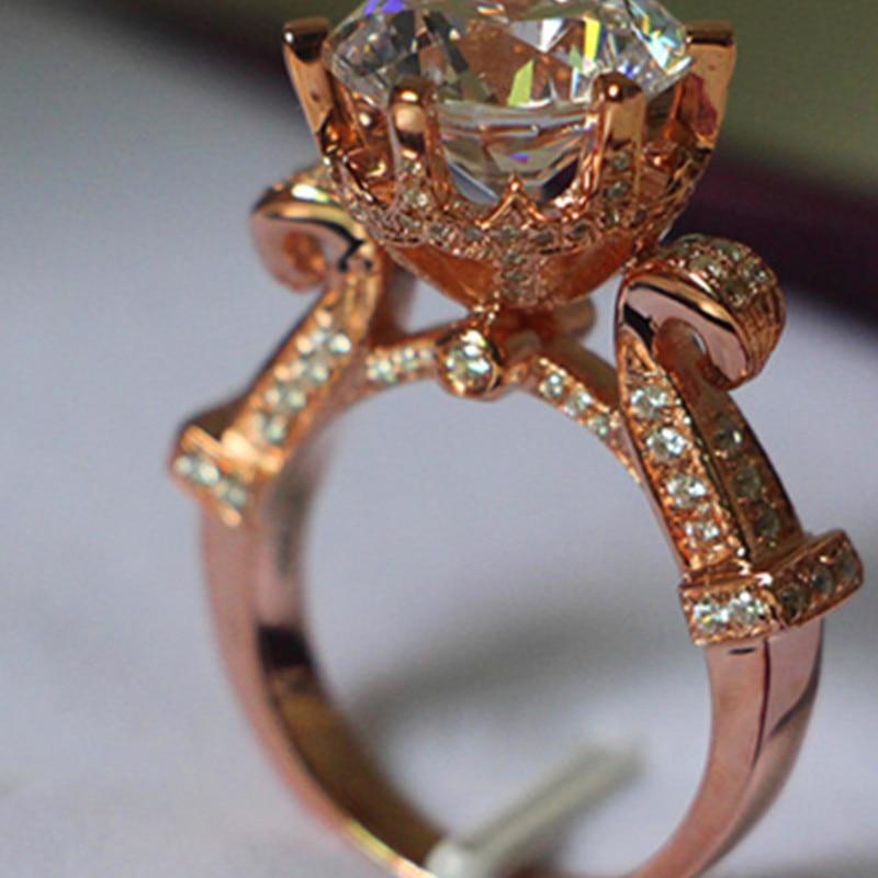 Amazing Big Diamond Ring Genuine 18k Rose Gold Designer Ring 5ct