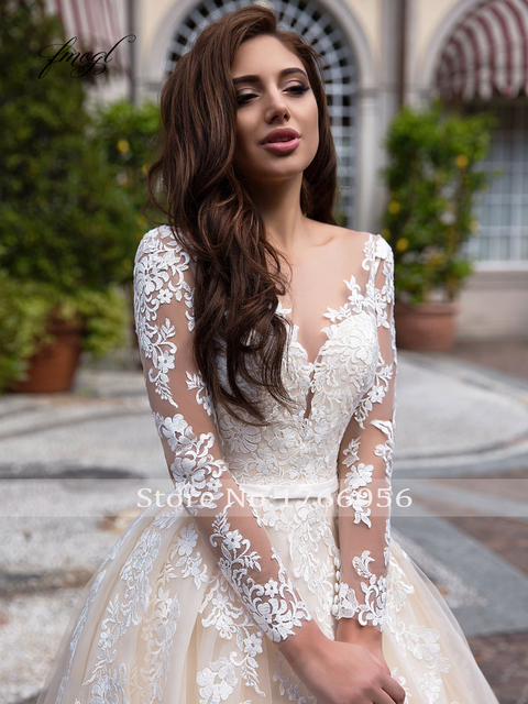 Fmogl Elegant Illusion Long Sleeve Vintage Wedding Dresses 2020 Luxury Scoop Neck Appliques Court Train A Line Bridal Gowns 3