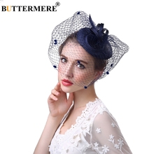 BUTTERMERE Women Fedoras Hat Linen Navy Blue Wedding Net With Veil Elegant Cocktail Classic Evening Fancy Ladies Fedora Cap
