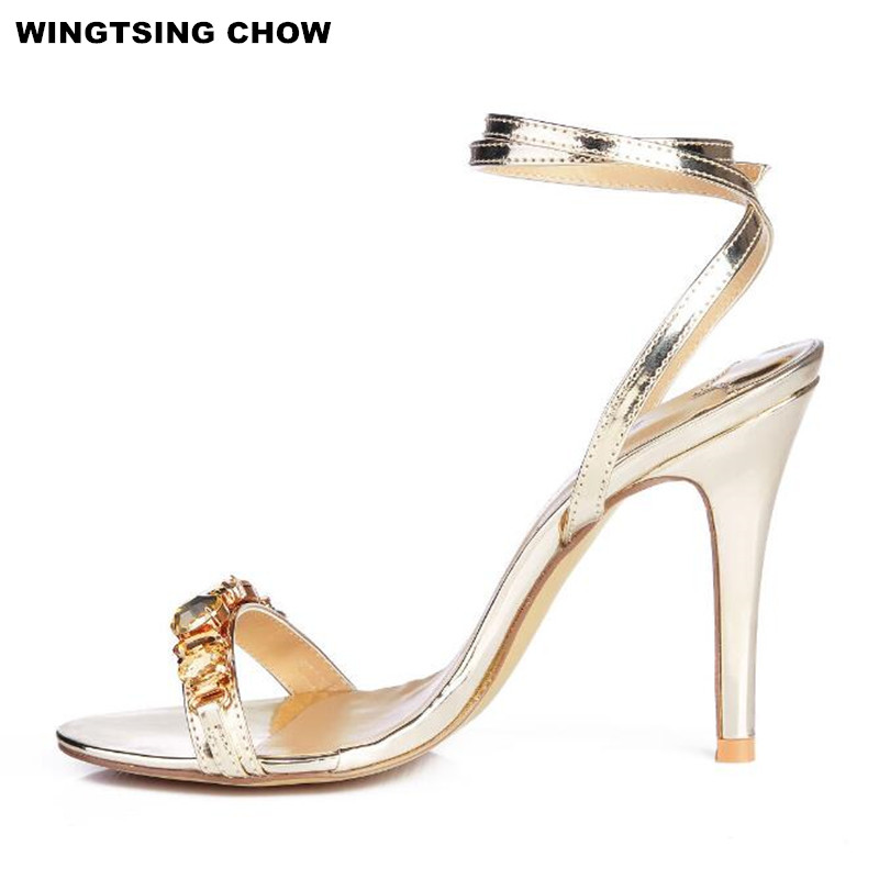 Plus Size 43 Crystal Shoes Women Sandals Comfort Ankle Strap Summer Shoes Sandals With Rhinestone High Heel Silver Pumps 2017 new arrival abnormal jeweled heels rhinestone crystal embellished high heel sandals ankle strap lock summer party shoes