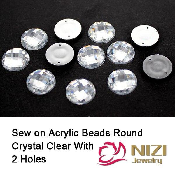 Acryl Kralen 8mm 10mm 12mm 14mm 16mm 18mm 20mm 22mm Plaksteen ronde Taiwan Crystal Clear Kralen Naaien Knoppen Voor Trouwjurk