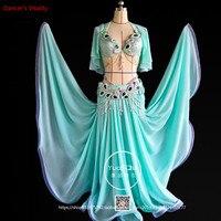 Индивидуальный заказ для женщин Танец живота комплект Восточный танец одежда с бюстгальтером, пояс, юбка, ротатор манжеты, талии цепи роско