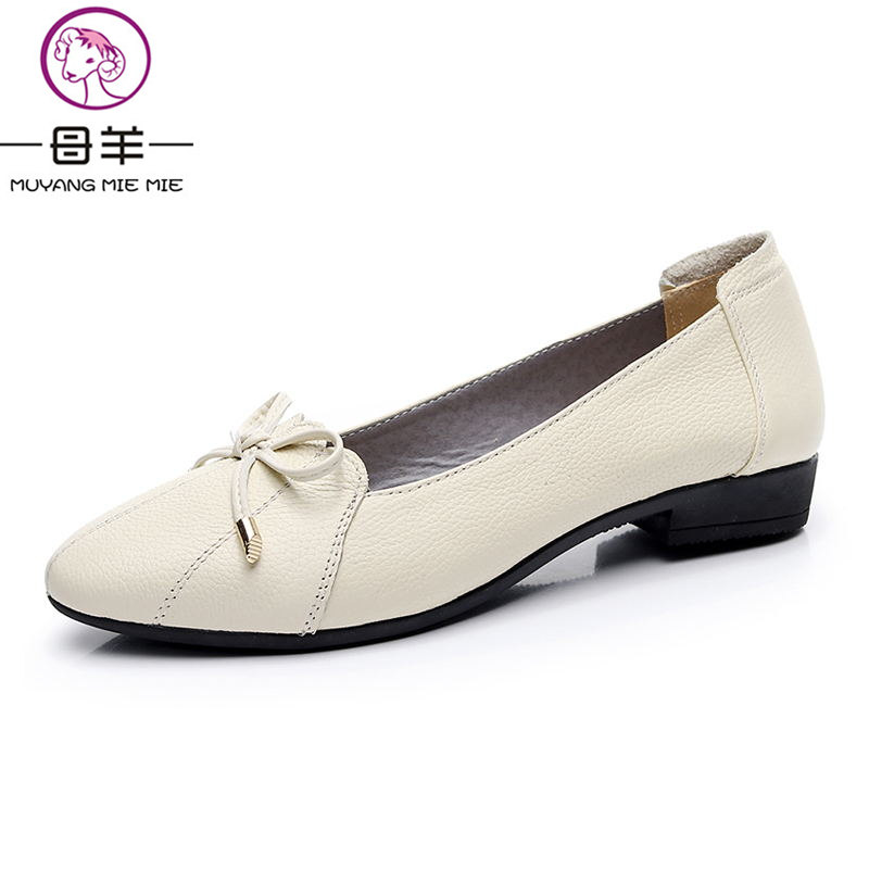MUYANG  Plus Size  Genuine Leather Women Shoes Woman Flats Fashion Female Casual Work Ballet Flats Loafers Women