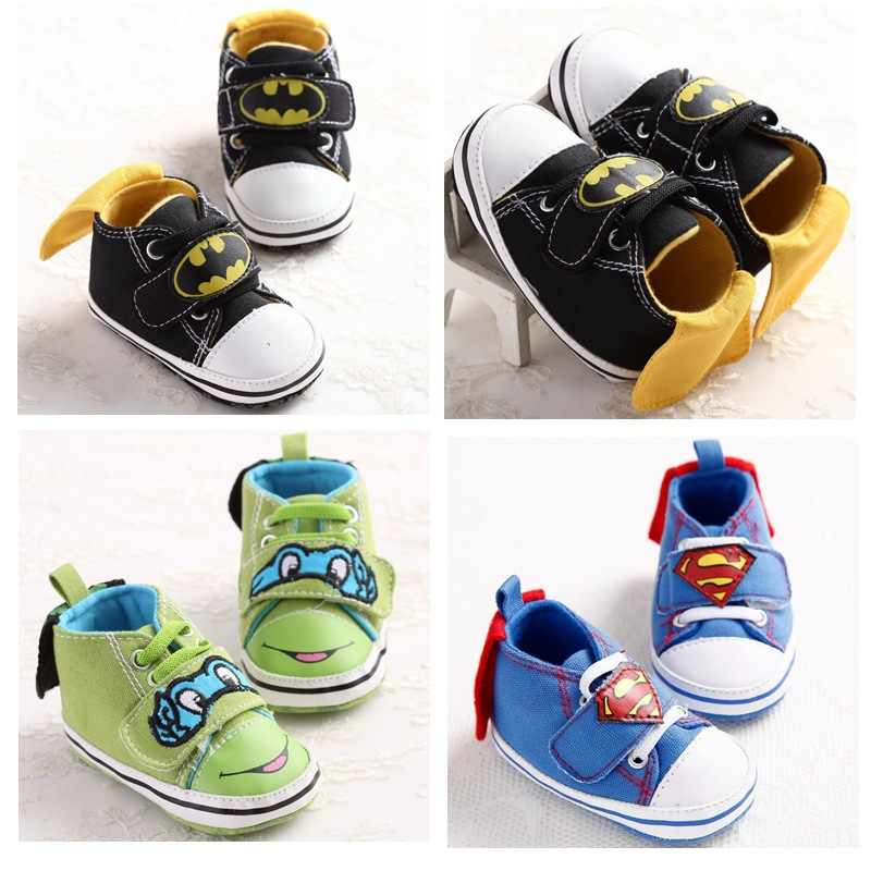 Infant Toddler Shoes Unisex Baby Boys Girls Crib Bebe Cute Cartoon Superman Batman Canvas First Walkers Soft Soled Prewalkers