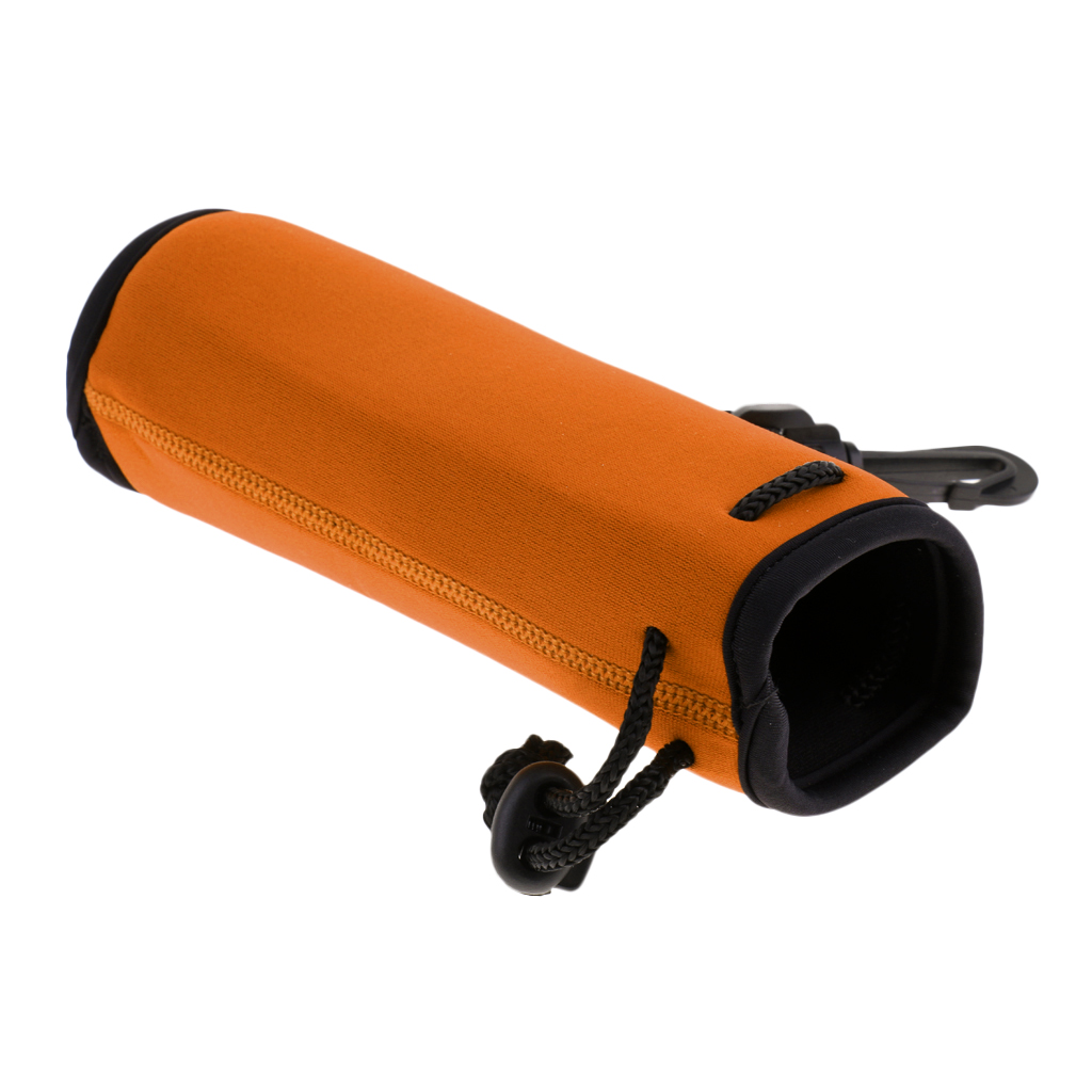 Neoprene 500ml Bottle Sleeve Bag Water Bottle Pocket Carrier with Handy Drawstring and Plastic Hook for Backpack