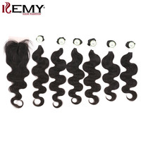 Brazilian 6 Bundles Human Hair With Closure For Full Head KEMY HAIR Non Remy Body Wave Human Hair Weaving Natural Color