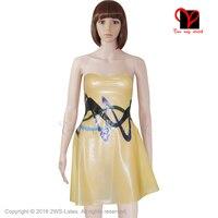 Latex Yellow Skater Dress Rubber swing frill bottom Bandeau Bodycon Miniskirt Strapless Playsuit gown plus size XXXL