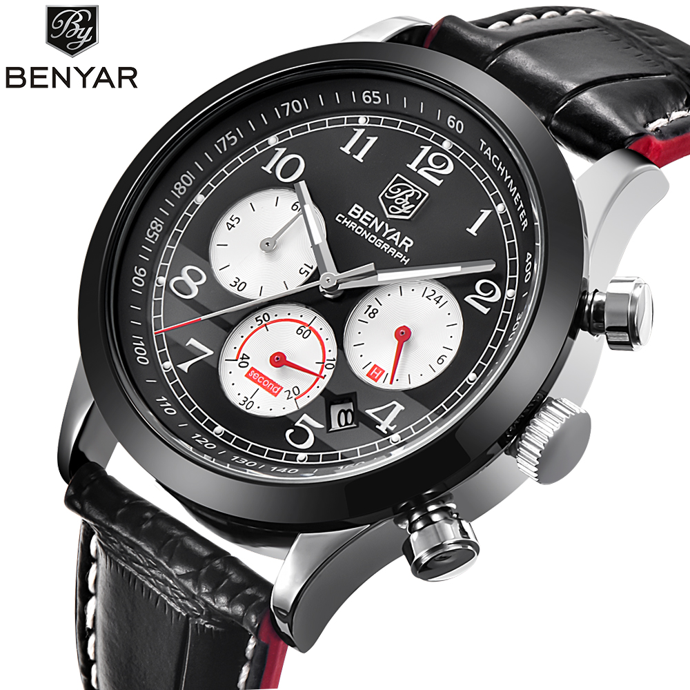 BENYAR new Mens Watches Top Brand Luxury Leather Casual Quartz Watch Men Military Sport Waterproof Clock Watch Relogio Masculino casual mens watches top brand luxury men s quartz watch waterproof sport military watches men leather relogio masculino benyar