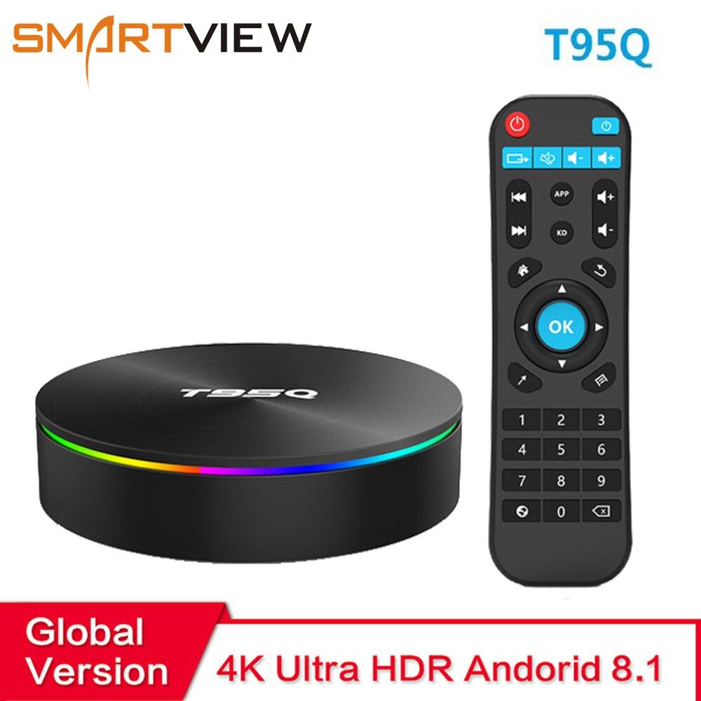 T95Q Smart ТВ коробка Android 8,1 4 GB Оперативная память 32 ГБ/64 ГБ Встроенная память Amlogic S905X2 Декодер каналов кабельного телевидения 2,4 и 5 ГГц WI-FI USB 3,0 HDR ...