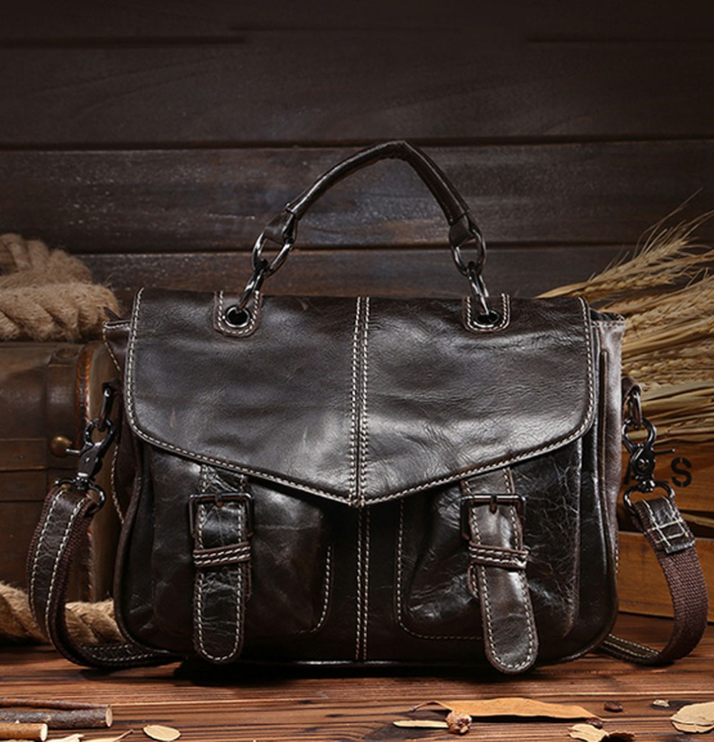 2018 New Men Vintage Oil wax Genuine Leather Cowhide High Quality Handbag Briefcase Business Messenger Shoulder Bag handbags high quality genuine leather men bag crocodile leather men handbag business shoulder bag briefcase messenger bag cowhide 5017