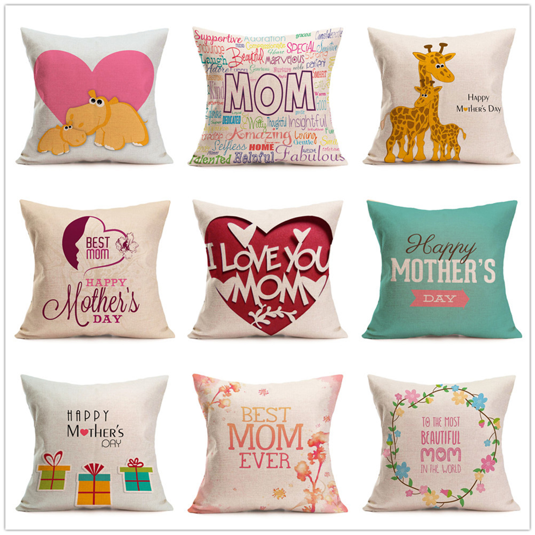 43x43cm Love Linen Cushion Cover Pillow Case Cotton Linen Square For Mothers Day Birthday Gifts Sofa Chair Home Decoration