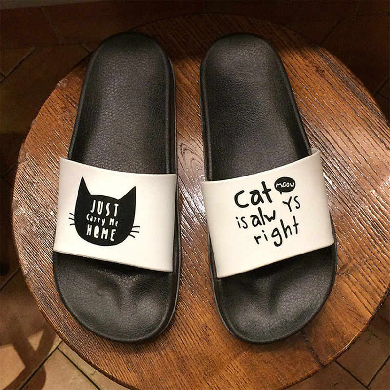 Verano Mujer Slides gruesas Zapatillas con suela verano Slip on sandalias negro blanco Mujer Zapatos Chanclas Mujer