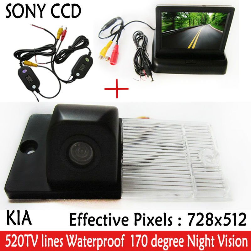 Wireless Car Parking Reversing CCD Car Rear View Camera With 4.3 inch Car Rearview Mirror <font><b>Monitor</b></font> <font><b>For</b></font> <font><b>KIA</b></font> SORENTO SPORTAGE