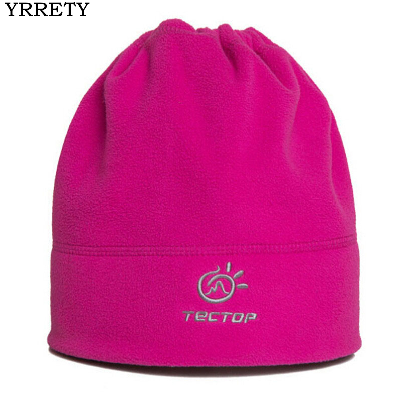 YRRETY Winter Outdoor Beanies Multifunction Hiking Cap Trekking Warm Fleece Embroidery Ski Pure Color Climbing Sport Camping Hat