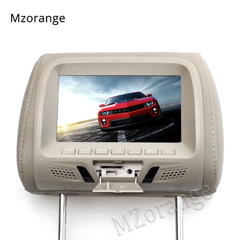 Headrest Monitor 7 inch TFT LED Screen Pillow Monitor General Car Beige/Gray/Black color AV USB SD MP5 FM Speaker Universal new 9 inch portable headrest monitor mp5 player led screen car monitor built in speaker support usb sd card reader fm sh9088 mp5