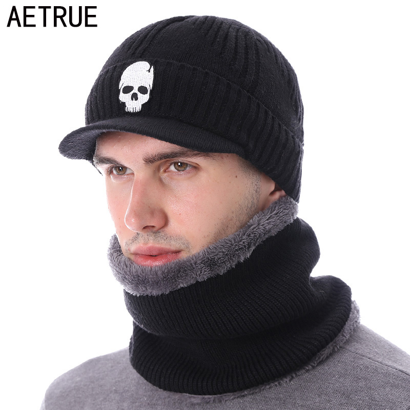 AETRUE   Skullies     Beanies   Hat Men Winter Hat   Beanies   For Men Women Wool Fur Scarf Balaclava Mask Gorras Bonnet Knitted Hat Caps