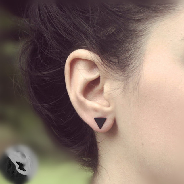 Black / Silver Color  triangle earrings
