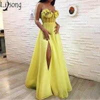 Ярко желтый высокий разрез Пром платье для возлюбленной для встречи выпускников 3D Цветочные Цветы Линия органзы Длинные Вечернее формальн