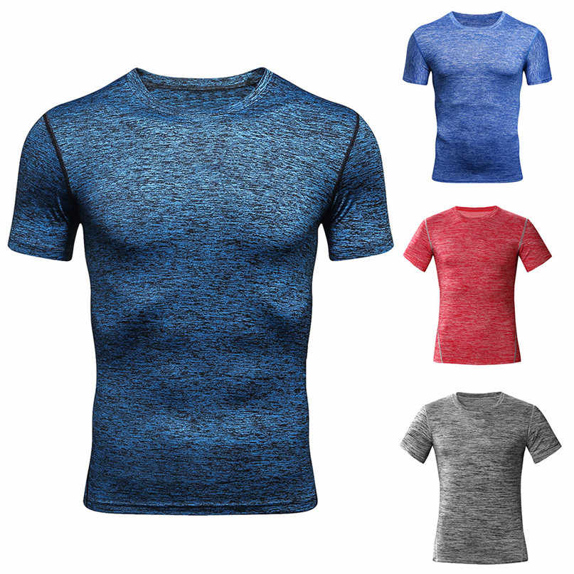 Men's Fitness Short Sleeves Rashguard Running T-Shirt workout clothes Highly elastic training basketball sports Tops man #2s13FN
