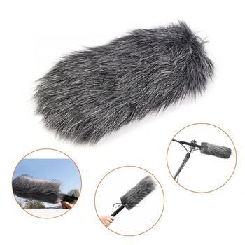 Odkryty zakurzony mikrofon MIC sztuczne futro pokrywa szyby przedniej szyby Muff dla Rode GO mikrofon sztuczne futro okładka tanie i dobre opinie Akozon In-Line Mic Akcesoria Fur Cover