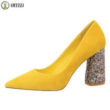 Luxury 2019 Crystal Bling Elegant Flock women shoes Square Heels Pumps Yellow Pink Black Pointed Ladies casual wear Hot Sales