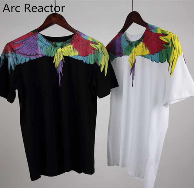 2017ss Marcelo Burlon t shirt Brand Women Men Multicolor Sitiching Drip  wing print t shirt hip hop Tee Tops t shirts Marcelo MB ab9db33ef17a