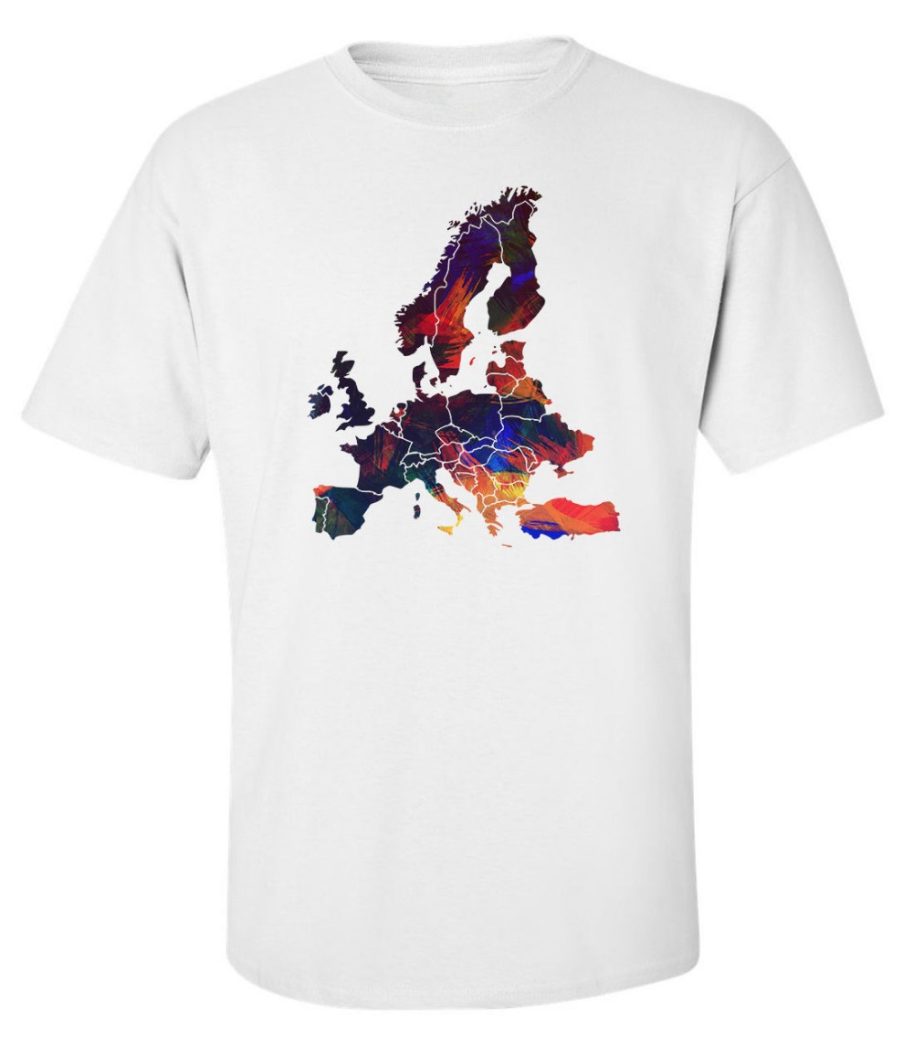 Design t shirt europe - Novelty Design T Shirt Men Europe Continent Map Colorful White Printed Cotton Men T Shirt Cotton Tee Shirts Short Sleeve Designe