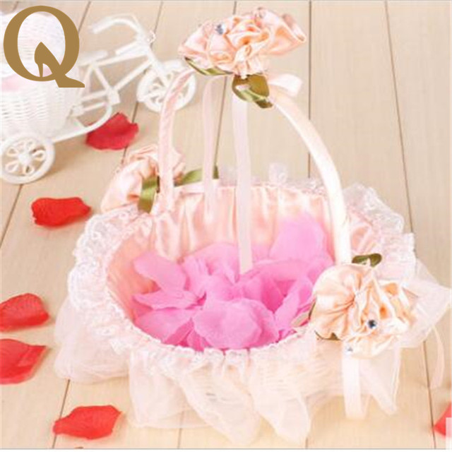 2017 romantic wedding supplies small portable basket bridesmaid 2017 romantic wedding supplies small portable basket bridesmaid wedding decoration supplies flowers with petals lace junglespirit Choice Image