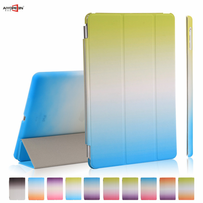 for new ipad 9.7 case 2017 release,aiyopeen smart wake up sleep rainbow gradient magnetic pu leather with hard pc back cover for ipad air2 case pu leather smart wake up sleep solid pc back cover magnetic flip stand origimi brand aiyopeen with gift