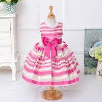 Fashion Children Baby Striped Bow Dress Girl Birthday Party Sleeveless Striped Girl Tutu Dress Bow Pattern