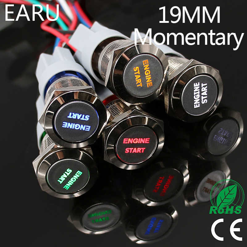1 PC 19 Mm Tahan Air Stainless Steel LED Sesaat Power Push Button Switch Balap Mobil Auto Motor Mesin Mulai starter