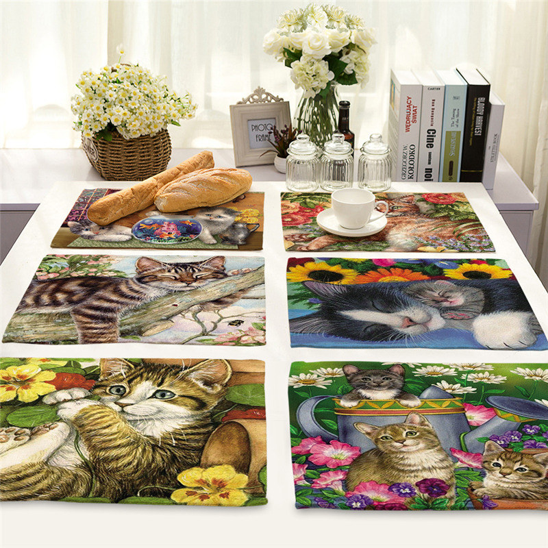 1Pcs Cute Cat Flower Pattern Placemat Dining Table Mats Cotton Linen Drink Coaster Western Pad Cup Mat 42*32cm Home Decor MA0029