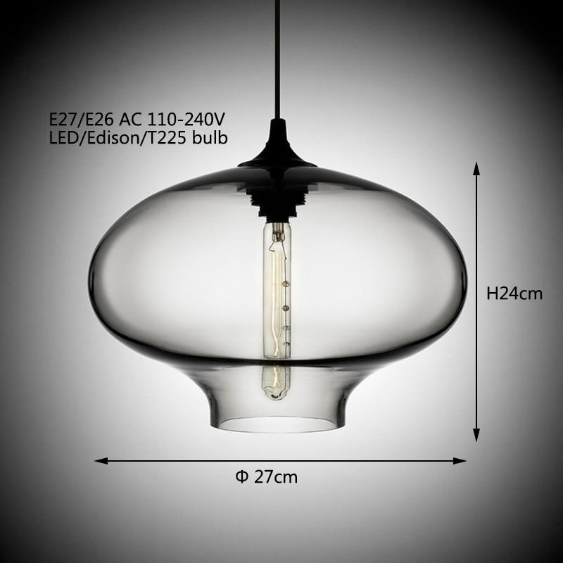 Современный арт-деко висит красочный стеклянный E27 T225 лампы подвесной светильник со светодиодными огнями шнур для ресторана Гостиная Кухня...