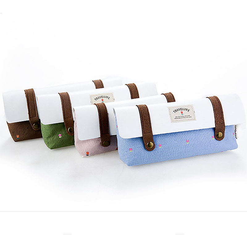 New Cute School Pencil case for Girls or boys Canvas Pencil Bag Stationery Products Offices School Supplies Gift new leather pencil case bag for school boys girls vintage pencil case box stationery products supplies as gift for student