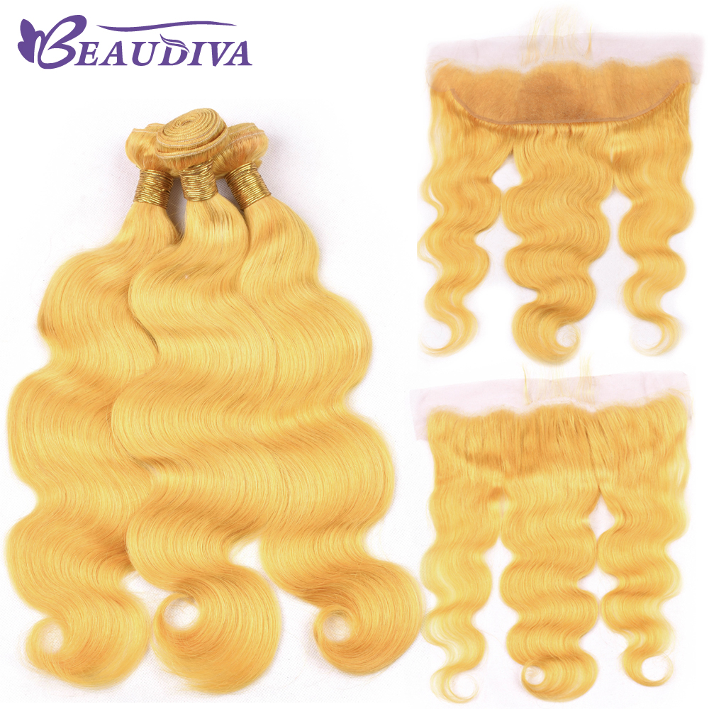 Beaudiva Yellow Color 2/3 Bundles With Lace Frontal Brazilian 100% Human Hair Body Wave Bundles 10-26 With 13*4 Frontal