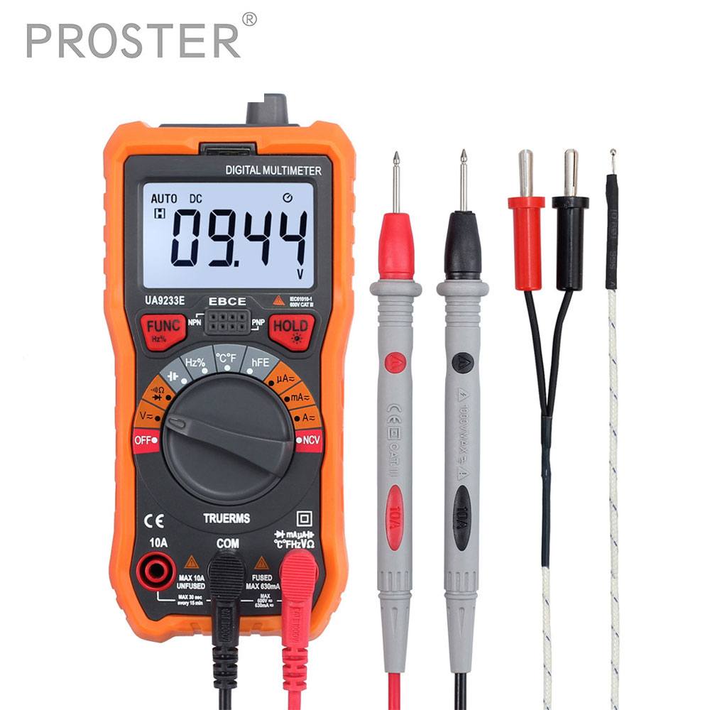 6000 Counts Digital Multimeter with Test Probe True RMS AC/DC Voltage Resistance Capacitance Frequency Temperature NCV Tester bside auto range digital clamp meter 6000 counts dc ac 600a 600v resistance capacitance frequency temperature ncv multimeter